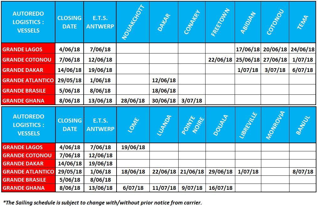 Next Vessels departure – Prochains départs Bateaux